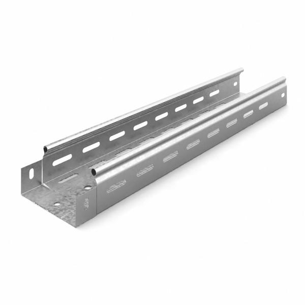 Металлический лоток Ostec, усиленный, перфорированный, 100х50х2500 (ШхВхД), толщина: 0,55 мм, сталь, м. Сендзимира
